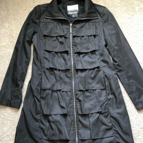 Kensie Jackets & Blazers - Kensie Black Ruffle Tiered Zipper Coat